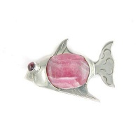 Rhodocrosite Fish Pin-Pendant with Garnet