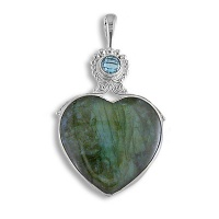 Labradorite Heart and Swiss Blue Topaz Pendant