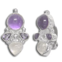 Amethyst Silver Clip Earrings