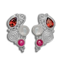 Garnet, Ruby, and Rainbow  Moonstone Post Earrings