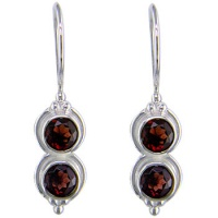 Double Garnet Silver Dangle Earrings