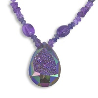 Rainbow Blue Caribbean faceted Window Druzy with Amethyst