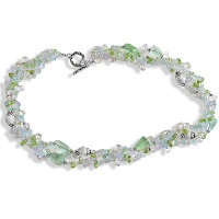 Blue Chalcedony, Green Calcite, Crystal, Peridot 3 Strand Beaded Necklace