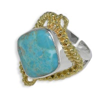Sterling Turquoise Ring with Vermeil Beadwork