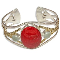 Sterling Red Coral and Aquamarine Bracelet
