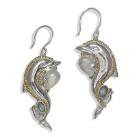 Sterling Dolphin Earrings with Vermeil