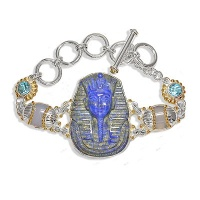 Sterling Egyptian Lapis Carved Bracelet