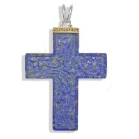 Lapis Cross Pendant with Vermeil