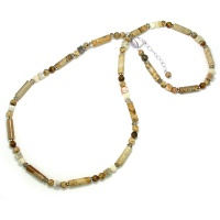 Picture Jasper, Smokey Quartz and Tiger Eye Beaded Necklace