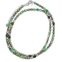 Aventurine, Pearl, Onyx Beaded Necklace