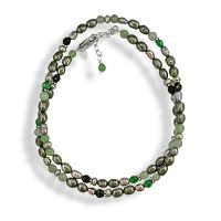 Green Pearl and Aventurine Beaded Necklace