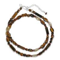 "18"" Tiger Eye Garnet Citrine Beaded Necklace"
