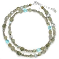 Labradorite Pearl Blue Crystal Necklace