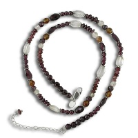 Garnet, Citrine and Yellow Jade Beaded Necklace
