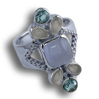 Blue Chalcedony, Moonstone, Swiss Blue Topaz Ring