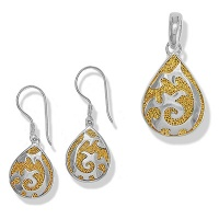 Vermeil Pendant and Earring Set  with Sterling Silver Design