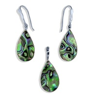 Teardrop Paua Pendant and Earrings Set