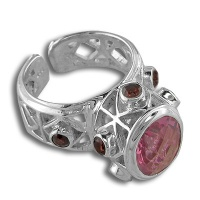 Silver Ring with Watermelon Blush Crystal Quartz and Garnet