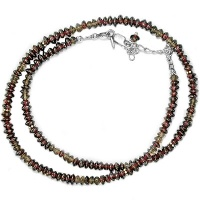 Sterling Garnet and Smokey Quartz Necklace