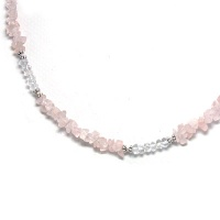 Rose Quartz, Crystal Nugget Silver Necklace
