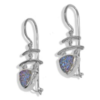 Sterling Druzy Trillion Earrings