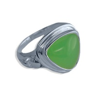 Chrysoprase Trillion Sterling Silver Ring