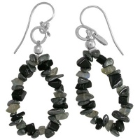 Hematite Snowflake Obsidian and Rainbow Moonstone Earring