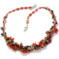 Carnelian, Citrine, Onyx Bead Necklace