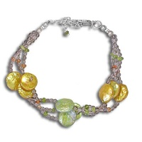 Yellow and Green Pearl Bracelet