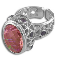 Sterling Watermelon Blush Crystal Quartz Ring
