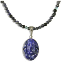 Lapis Ganesh Pendant on a Lapis and faceted Onyx beaded necklace