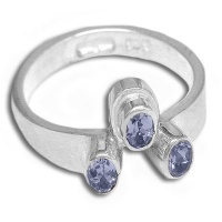 Triple Tanzanite Silver Ring