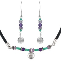 Turquoise  Amethyst Necklace and Earring Set