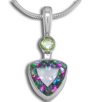 Rainbow Fire Topaz and Peridot Silver Pendant