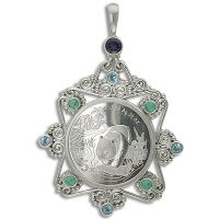Silver Panda Coin Pendant Turquoise Topaz