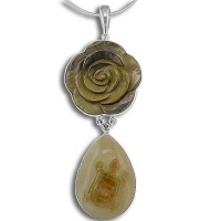 Tiger Eye Rose with Agate Turtle Pendant
