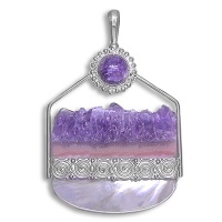 Amethyst Crystal, Charoite & Mother of Pearl Pendant