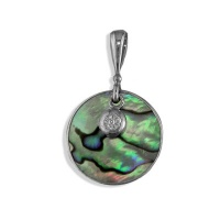 Sterling Round Paua Shell Pendant  with Charm