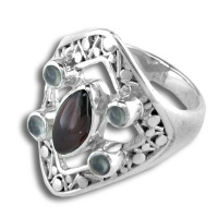 Sterling Ring with Garnet and Moonstone