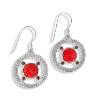 Cinnabar and Garnet Circle Dangle Earrings