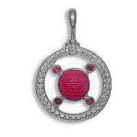 Sterling Pendant with Cinnabar and Garnet