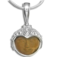Tiger Eye Face Silver Pendant