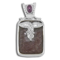 Sterling Red Muscovite and Ruby Pendant