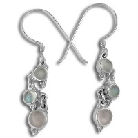 Moonstone and Rose Quartz Dangle Earrings