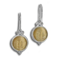 Sterling Dangle Earrings with Gold Fiber Optic Round Face