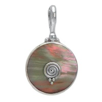 Brown Shell Pendant in Silver