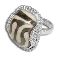 Mud Bead Rectangle Swirl Silver Ring