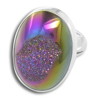 Sterling Rainbow Window Druzy Ring