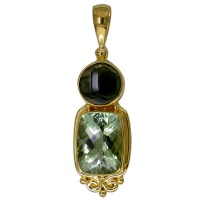 Vermeil Pendant with Green Amethyst and Tourmaline