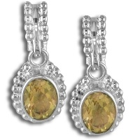 Sterling Citrine Faceted Oval Post Earrings